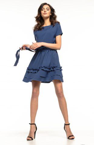 Sukienka rozkloszowana z falbanką granatowa