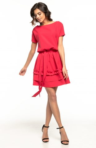 Sukienka rozkloszowana z falbanką czerwona