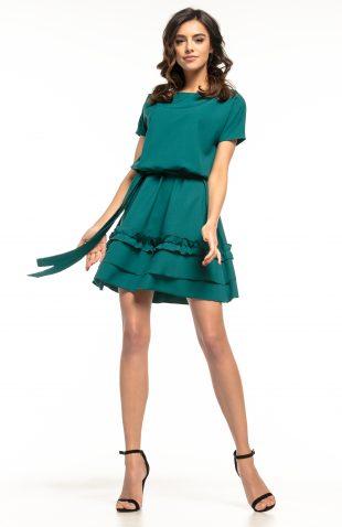 Sukienka rozkloszowana z falbanką zielona