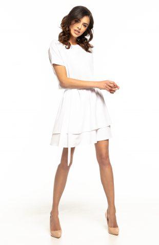 Sukienka rozkloszowana elegancka biała
