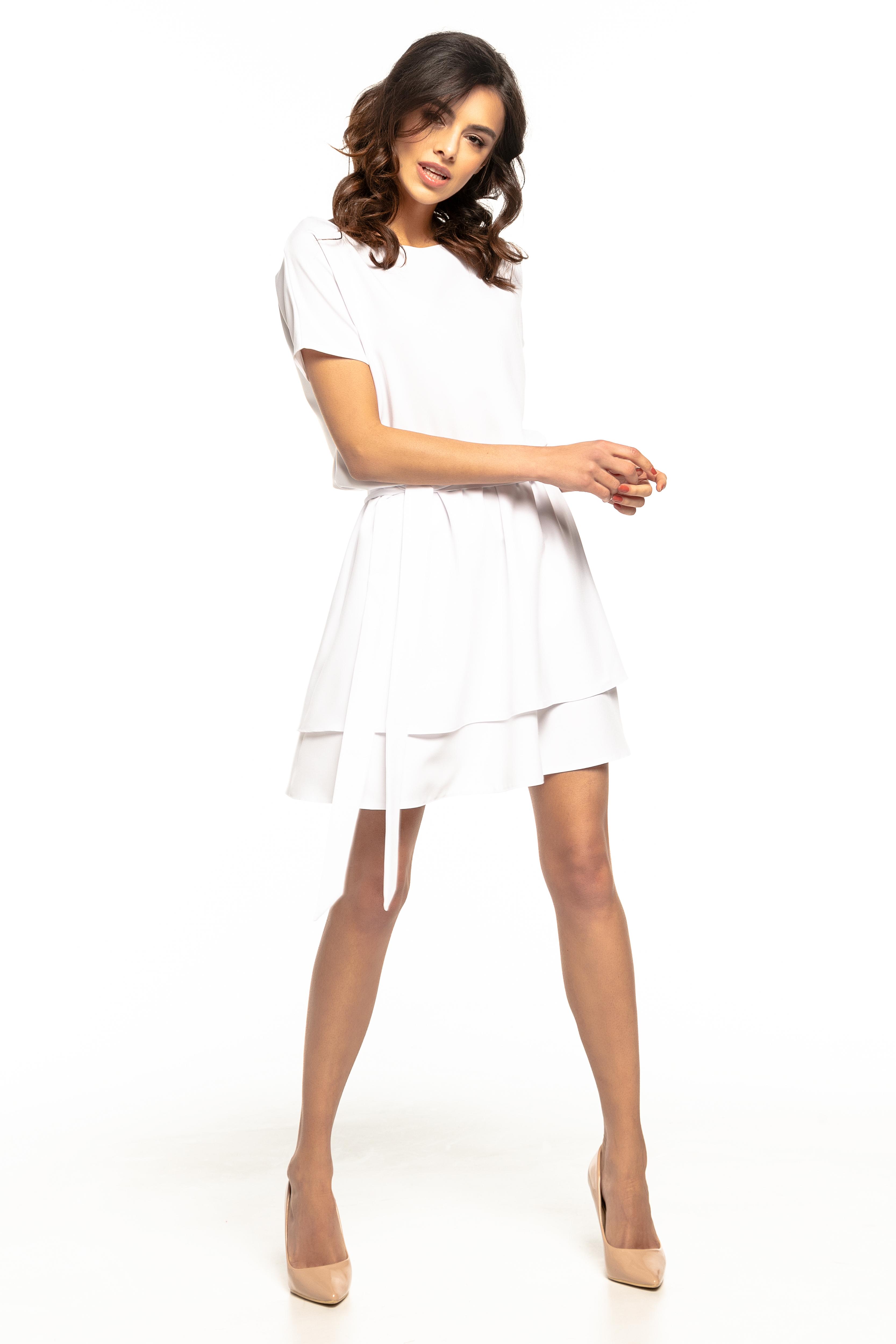 3022a189dd Sukienka rozkloszowana elegancka biała - kurier już od 5