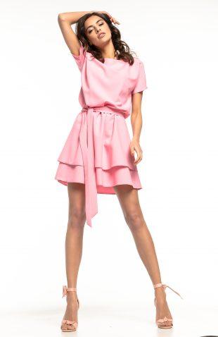 Sukienka rozkloszowana elegancka różowa