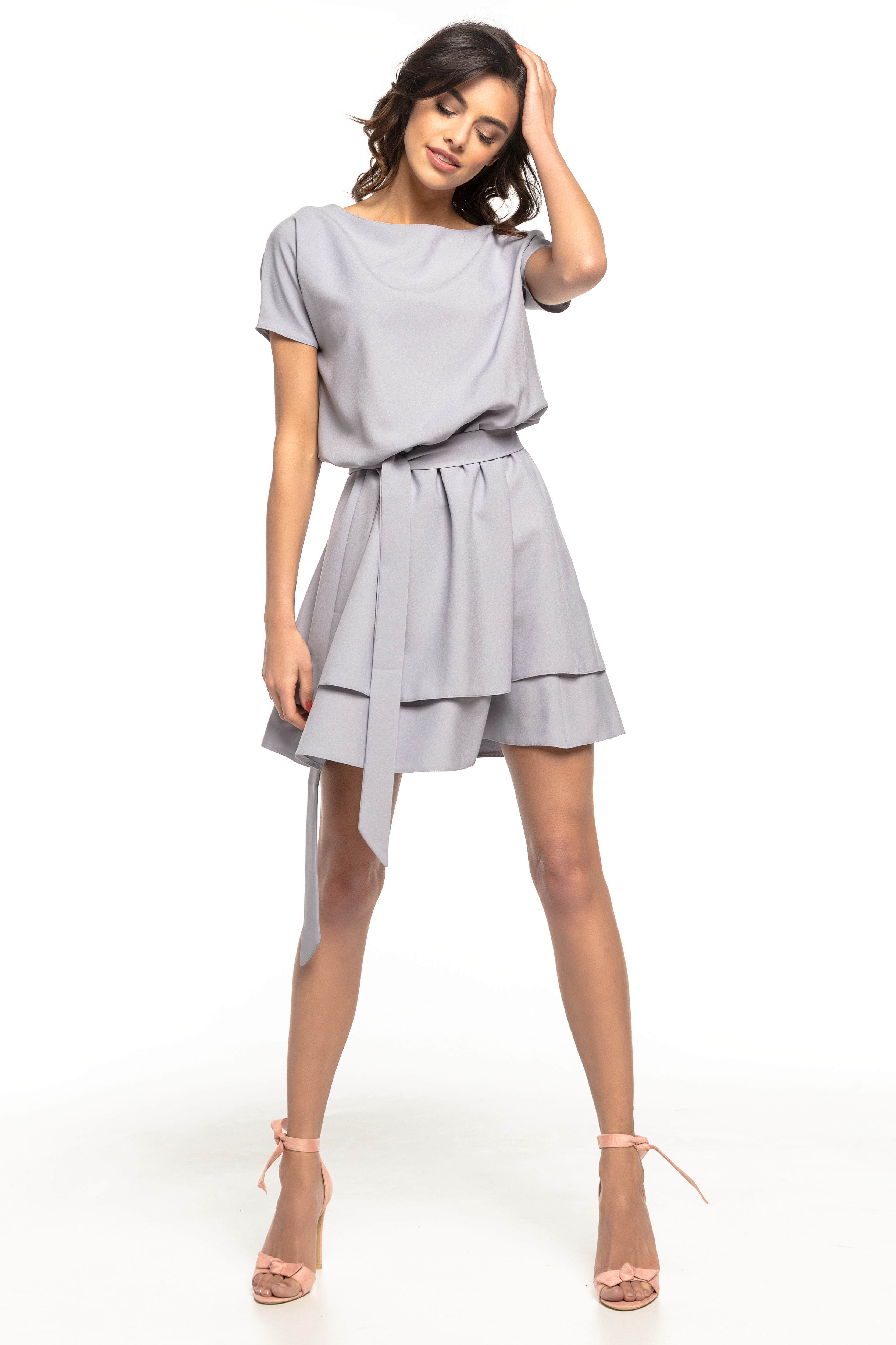 6d196f3392 Sukienka rozkloszowana elegancka szara - kurier już od 5