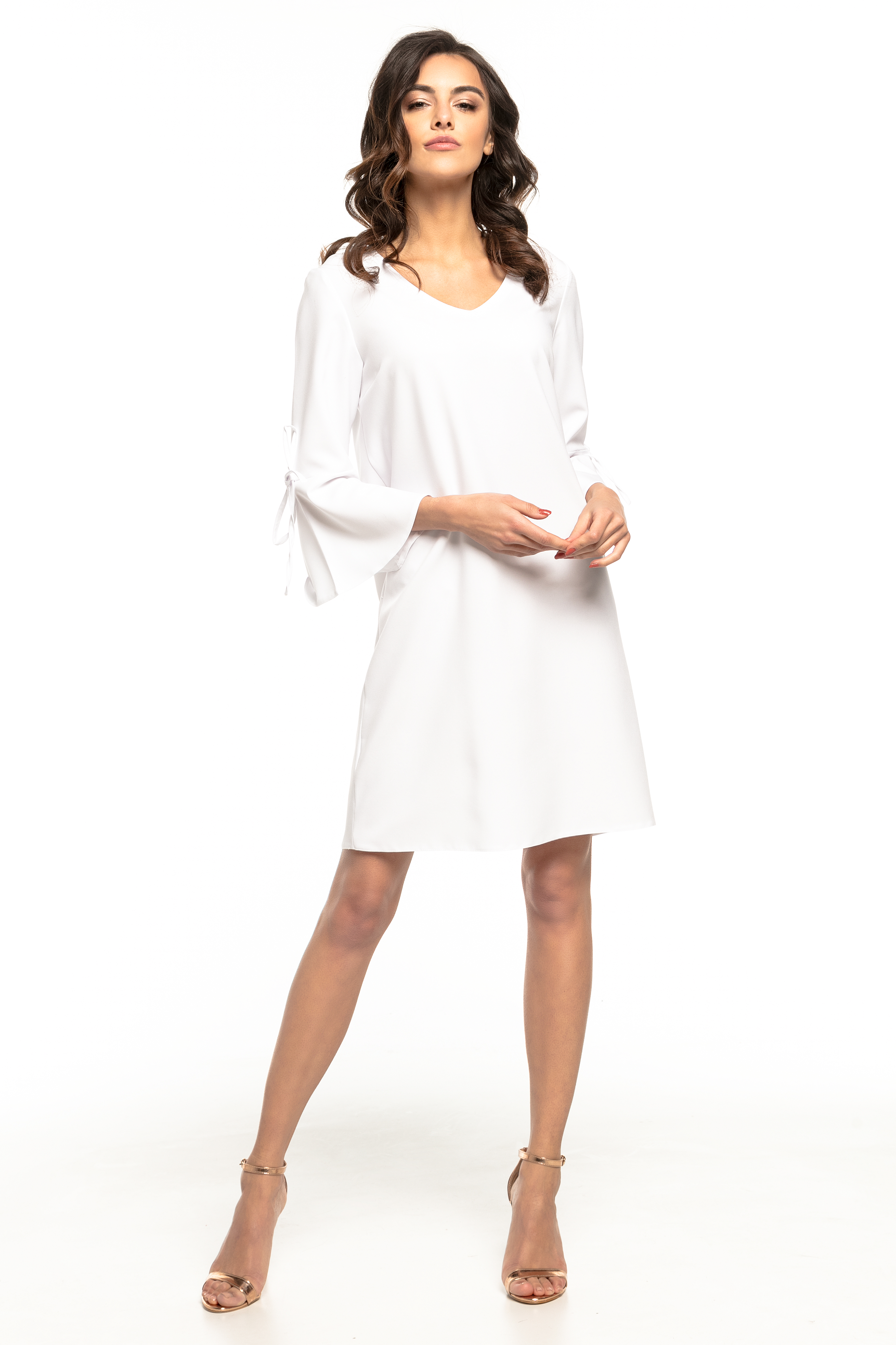 0d24dcf132 Sukienka trapezowa z falbankami biała - tania wysyłka już od 5