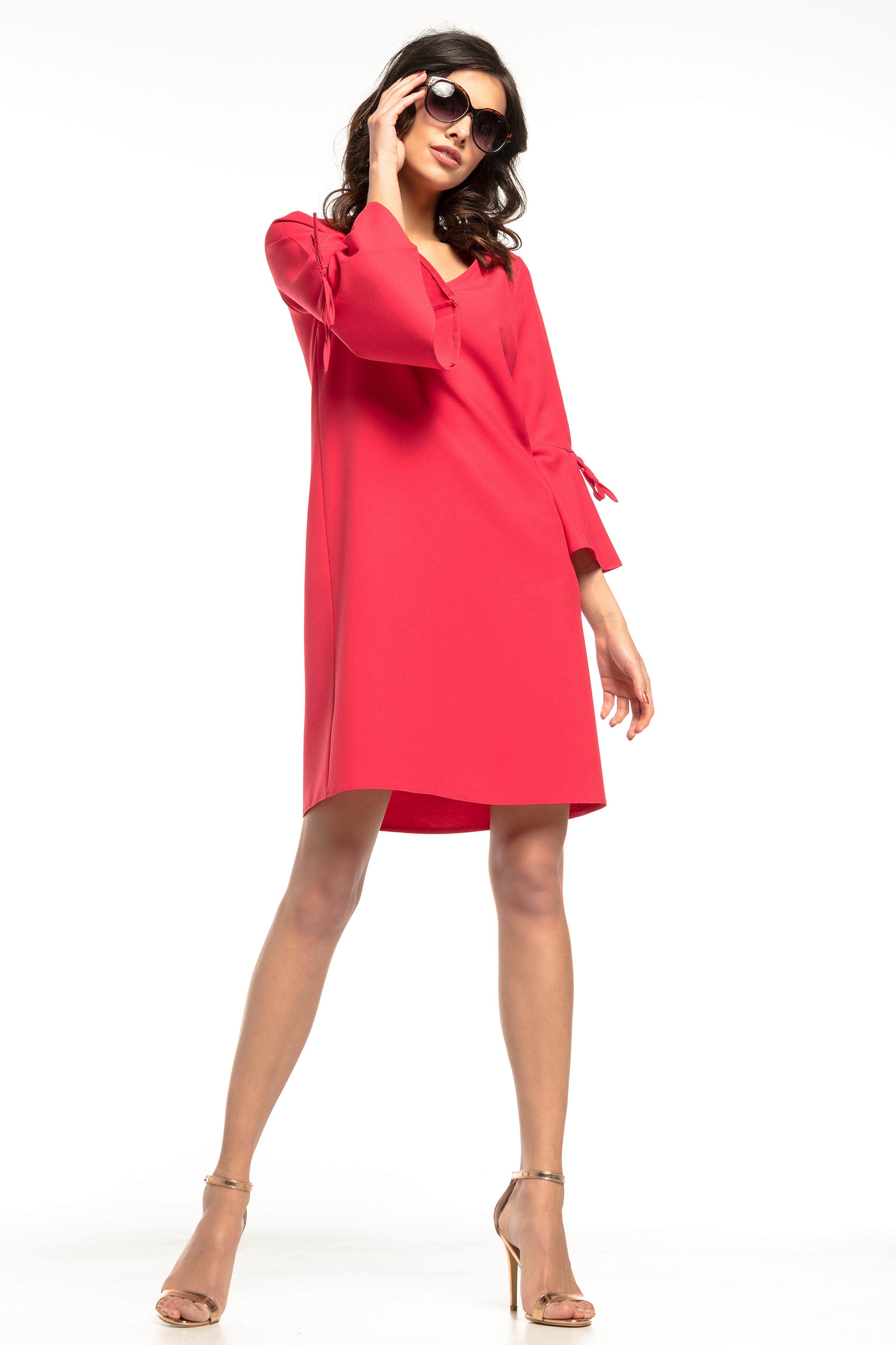 80e429ce0d Sukienka trapezowa z falbankami czerwona - tania wysyłka już od 5