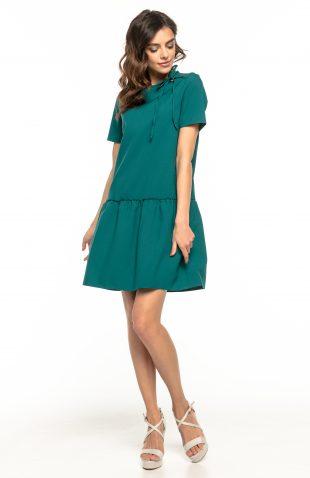 Sukienka z falbaną u dołu zielona