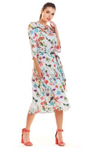 Sukienka midi rozkloszowana w kwiaty ecru
