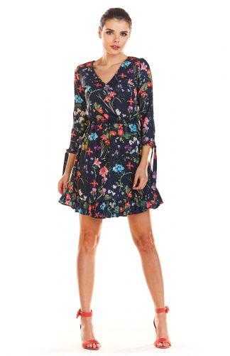 Sukienka z falbankami na dole kwiaty granat