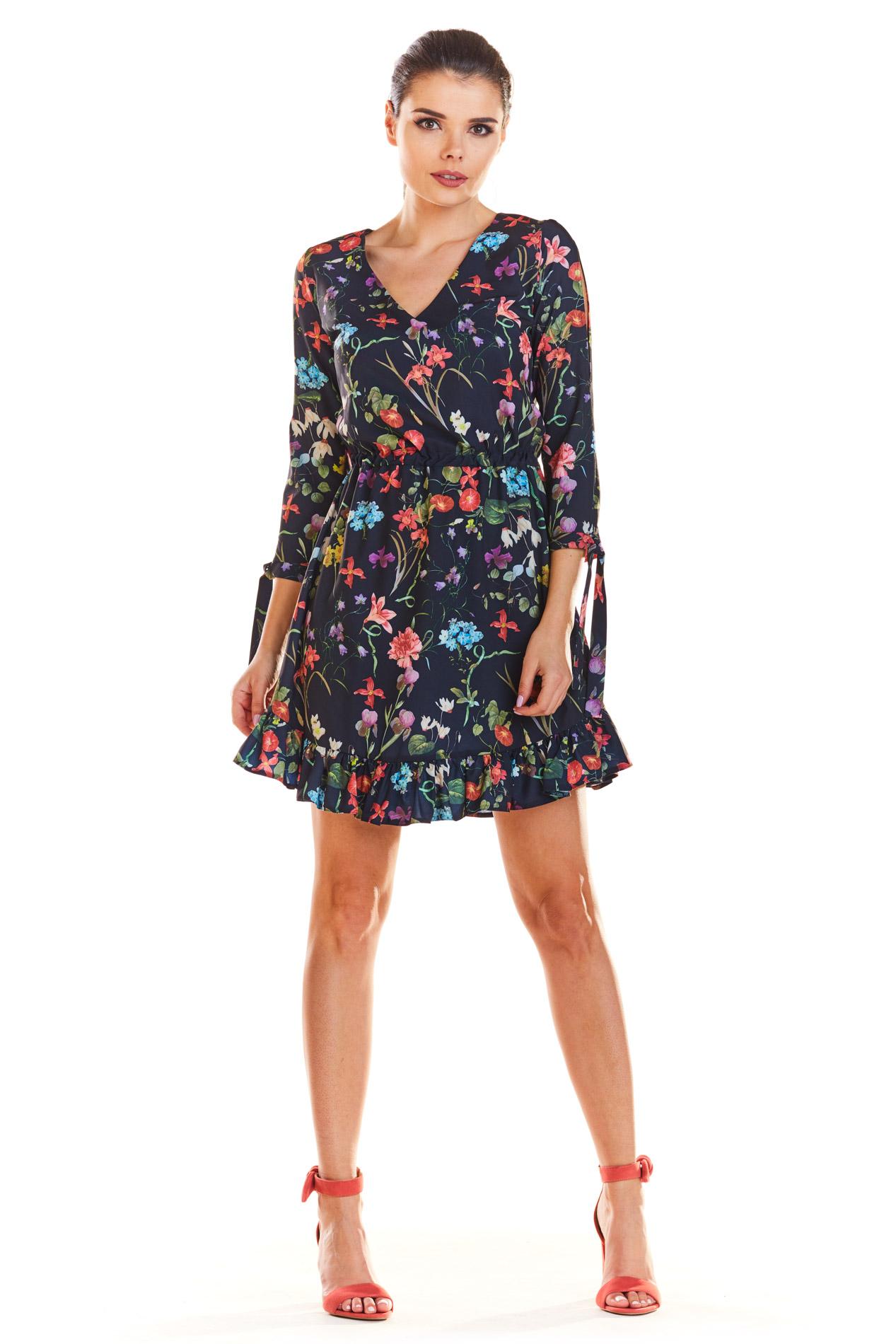 3fca3755167056 Sukienka z falbankami na dole kwiaty granat - kurier już od 5,99 zł