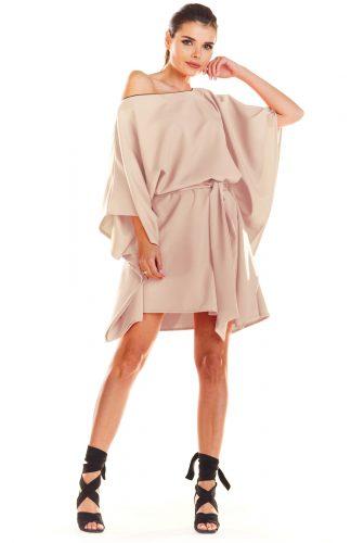 Sukienka kimonowa z paskiem beżowa
