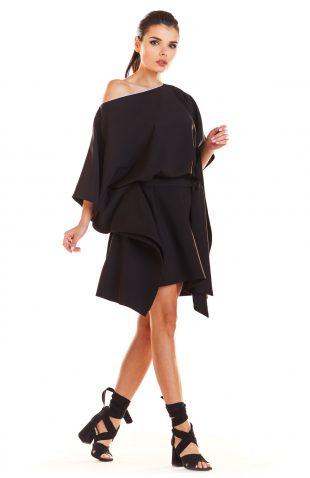 Sukienka kimonowa z paskiem czarna