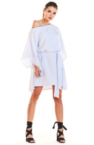 Sukienka kimonowa z paskiem biała