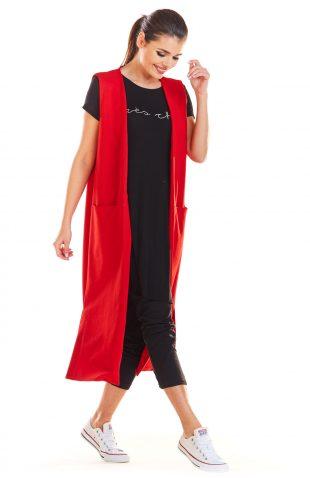 Kamizelka damska długa czerwona