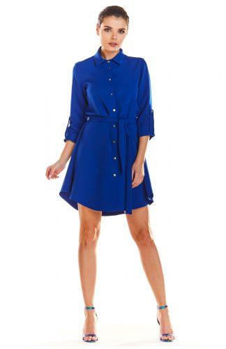 Sukienka koszulowa do kolan niebieska