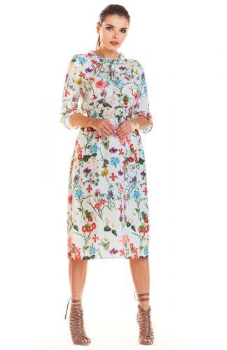 Sukienka midi w kwiaty z gumką w pasie ecru
