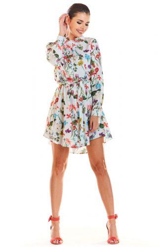 Sukienka koszulowa w kwiatki ecru