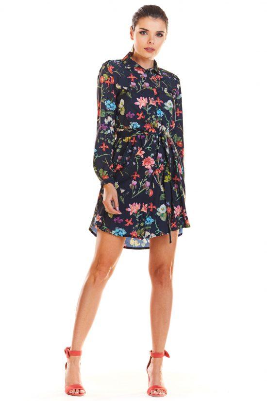 Sukienka koszulowa w kwiatki granat