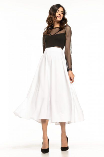 Spódnica midi rozkloszowana biała