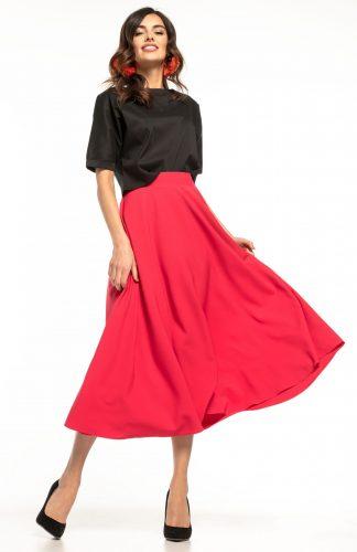 Spódnica midi rozkloszowana czerwona