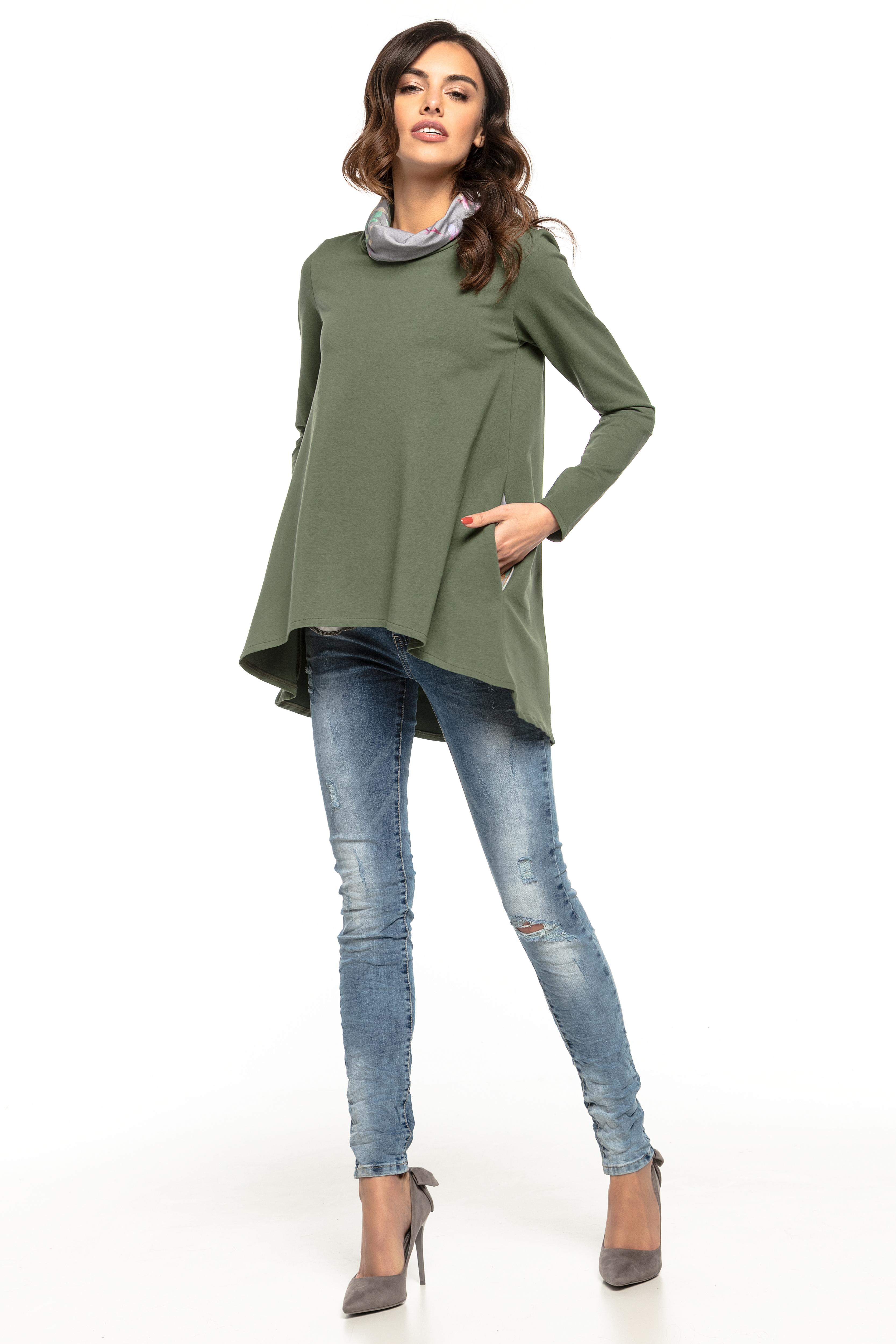 dd540060 Bluza damska oversize zielona