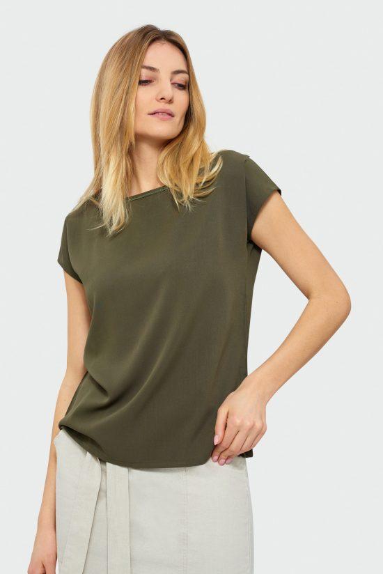Elegancka bluzka do pracy oliwkowa
