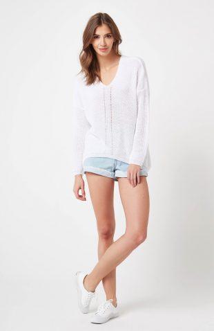 Sweter ażurowy w serek biały
