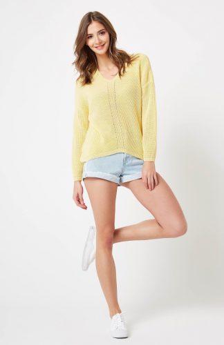 Sweter ażurowy w serek żółty