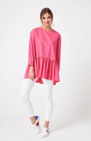 Bluzka z falbanką na dole różowa