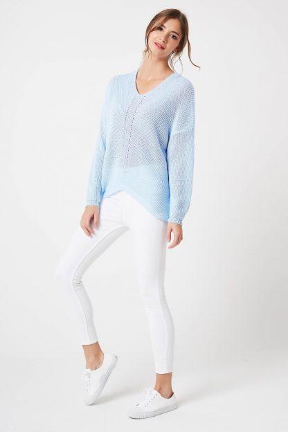 Sweter ażurowy w serek niebieski