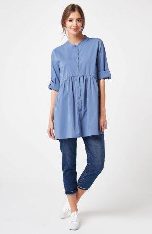 Koszula odcinana pod biustem niebieska