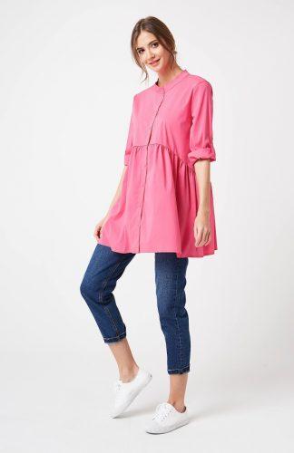 Koszula odcinana pod biustem różowa