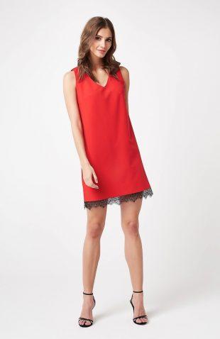 Sukienka wizytowa trapezowa czerwona