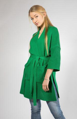 Elegancki kardigan z paskiem zielony