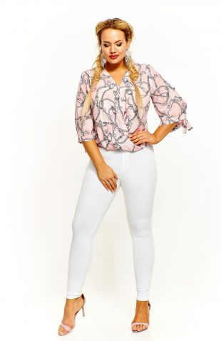 Elegancka bluzka kopertowa we wzory