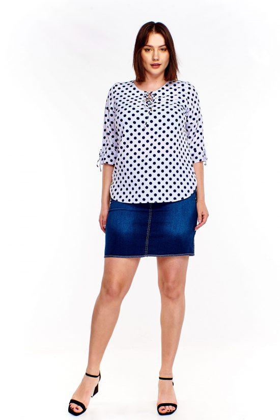 Koszulowa bluzka plus size w kropki