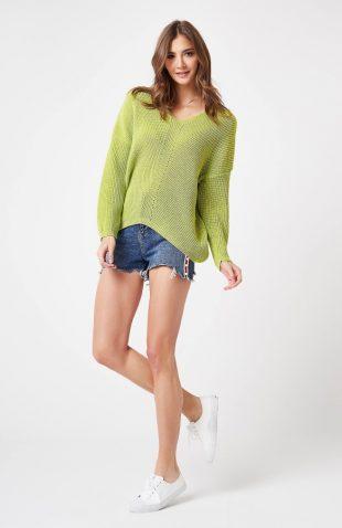Sweter ażurowy w serek limonkowy