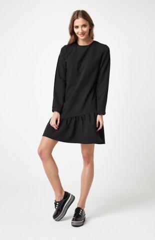 Sukienka z falbaną u dołu czarna