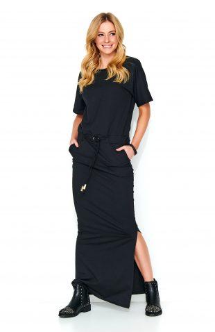 Sukienka do kostek dresowa czarna