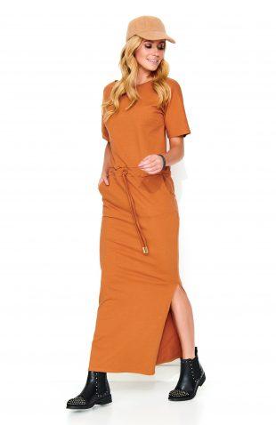 Sukienka do kostek dresowa karmelowa