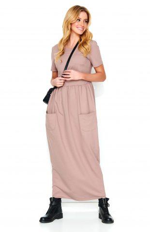 Sukienka do kostek beżowa