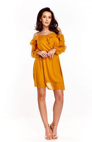 Sukienka z odkrytymi ramionami i z falbanką miodowa