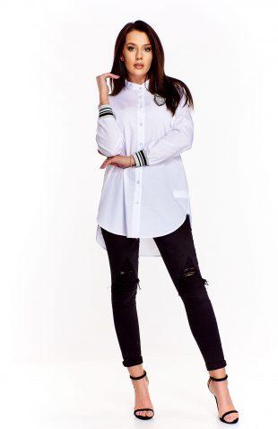 Elegancka długa koszula damska biała