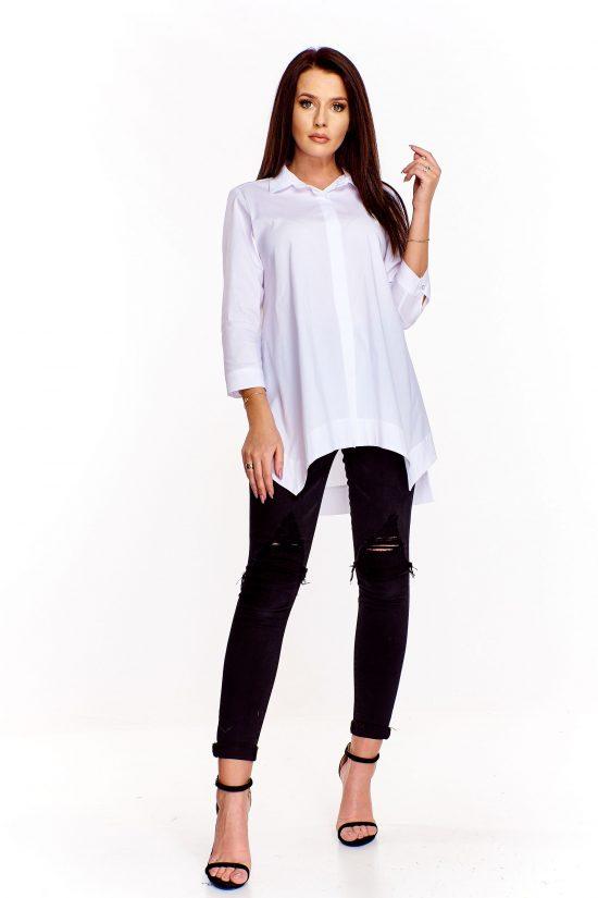 Elegancka długa koszula bawełniana biała