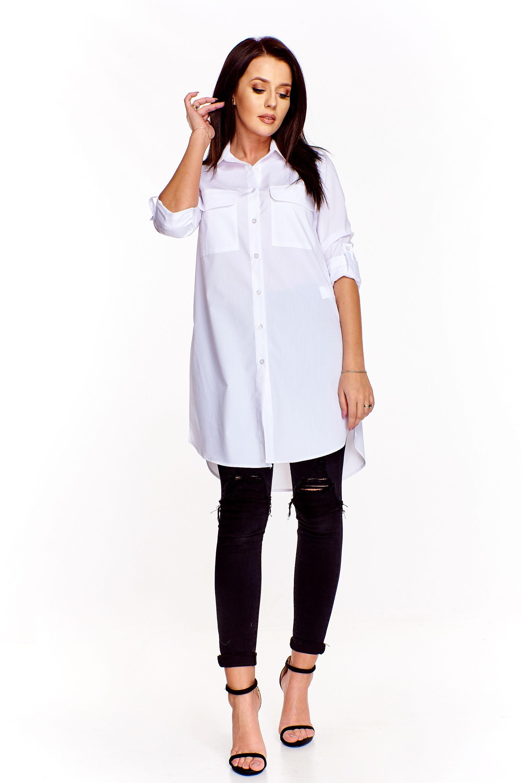 88dc085618 Elegancka długa koszula biała - szyta w Polsce - tani kurier już od ...