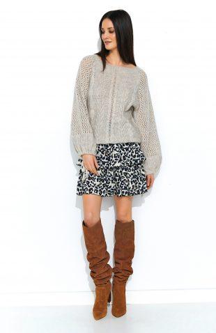 Sweter oversize z szerokimi rękawami beżowy