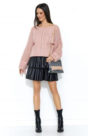 Sweter oversize z szerokimi rękawami różowy