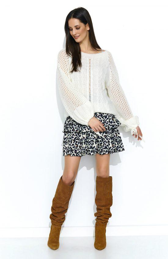 Sweter oversize z szerokimi rękawami ecru