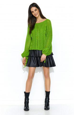 Sweter oversize z szerokimi rękawami zielony