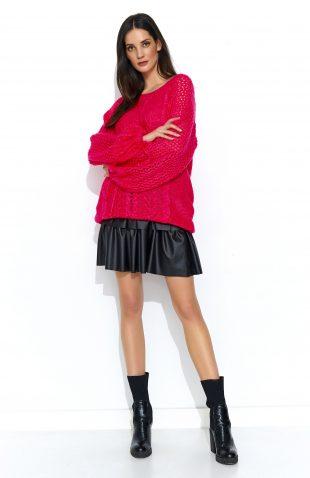 Sweter oversize z szerokimi rękawami malinowy