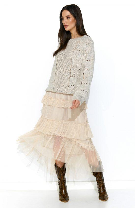 Sweter oversize z wełną jasny beż